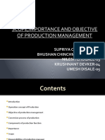 Production Management scope and objective