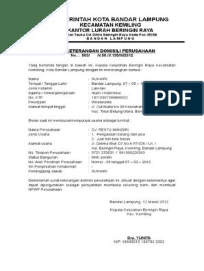 Contoh Surat Keterangan Domisili Perusahaan Doc
