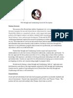 FSU Strength and Conditioning Coach Job Description TENNIS