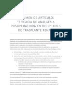 Anestesia en Trsplante Renal
