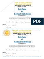 Monol Certificate&Very Good