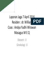 Laporan Jaga 7 April 2016