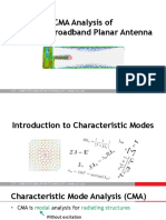 CMA Analysis of Compact Broadband Planar Antenna