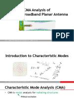 CMA Analysis of Compact Broadband Planar Antenna