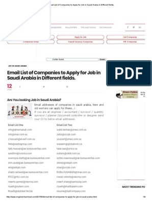 Email List of Companies to Apply for Job in Saudi Arabia in