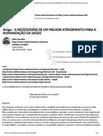 Artigo - A Necessidade de Um Melhor Atendimento Para a Humanização Da Saúde