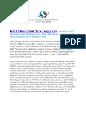 6063 Aluminium Sheet Suppliers | Heat Treating | Building