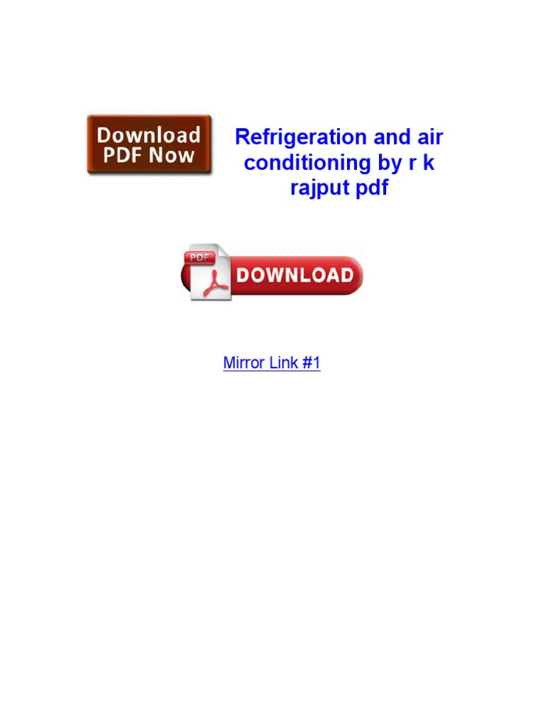 Refrigeration and Air Conditioning by r k Rajput PDF
