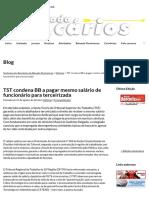 TST Condena BB a Pagar Mesmo Salário de Funcionário Para Terceirizada _ Sindicato Dos Bancários Da Baixada Fluminense