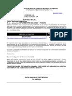 Carta de Entrega de Claves de Acceso a Sistemas de Información y Servicios Informaticos (Jhon Jairo Martinez Molina)
