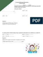 Evaluación Educación Matemática Calculo Mental
