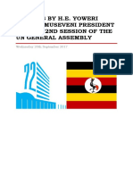 Address by Uganda President Yoweri Kaguta Museveni at the 72nd Session of the UN General Assembly