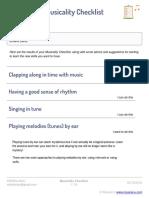 Musicality Checklist