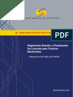 Regl. Expedición y Fiscalización Licencias Técnicos Electricistas