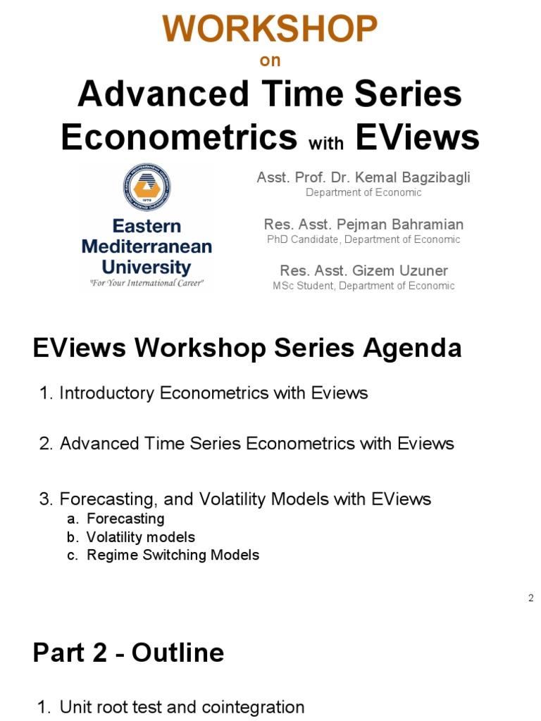 Workshop 4 - Part 2 - Advanced Time Series Econometrics With