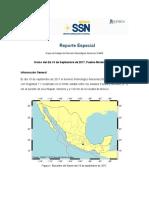 Reporte Especial Grupo de trabajo del Servicio Sismológico Nacional, UNAM. Sismo del día 19 de Septiembre de 2017, Puebla-Morelos (M   7.1)