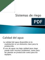 Sistemas de Riego Calidad de Agua
