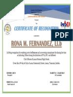 Certificate Rona