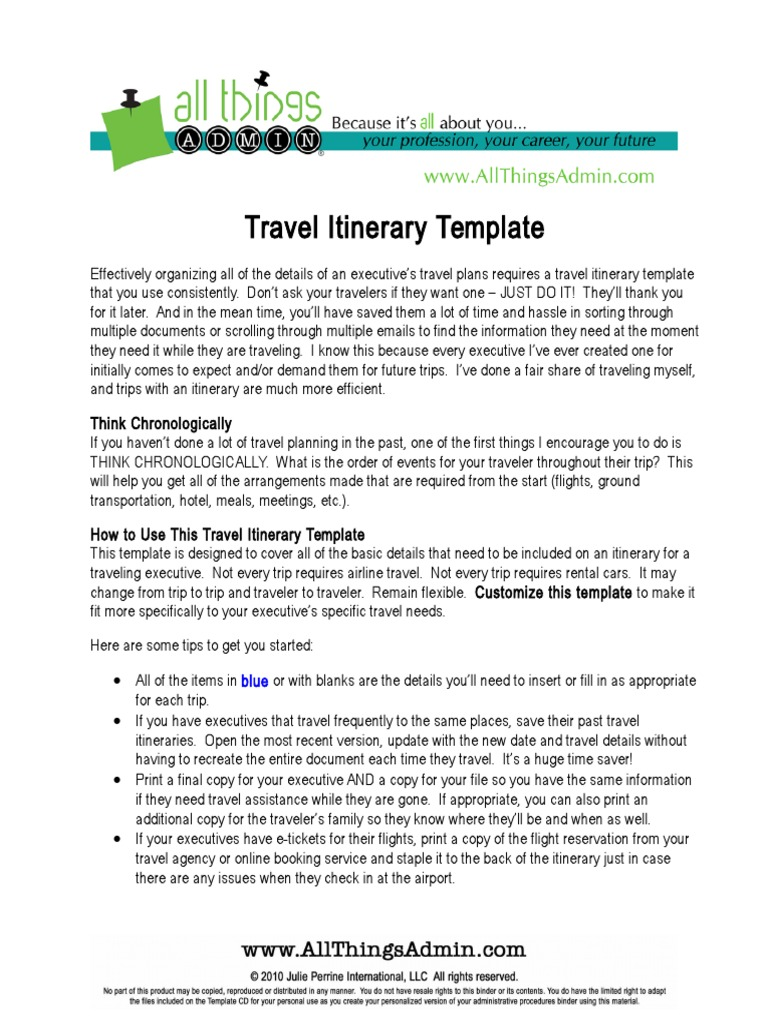 Great Executive Travel Itinerary Template Contemporary ...