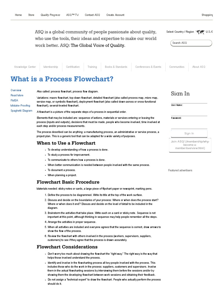 What is a Process Flowchart_ Process Flow Diagrams _ ASQ | Technology |  Computing