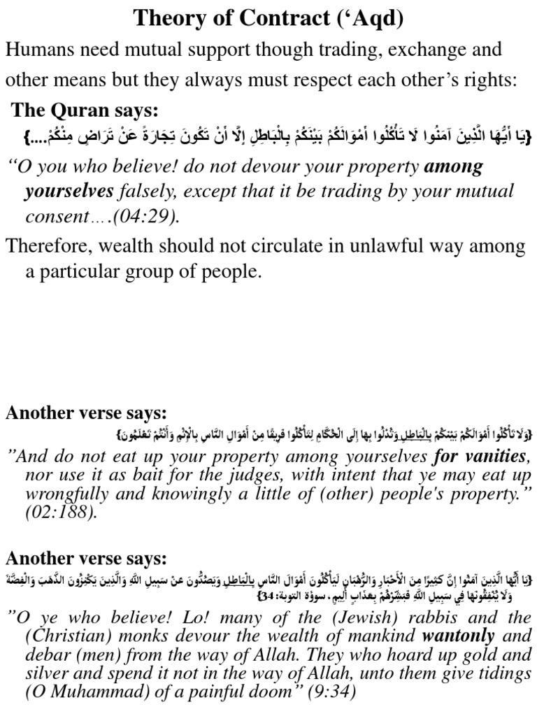 Theory Of Contract Offer And Acceptance Islamic