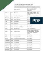 Senarai Cuti Umum Untuk Tahun 2016