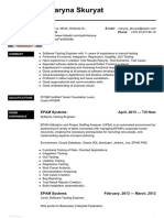 Software Testing Engineer CV of Maryna Skuryat