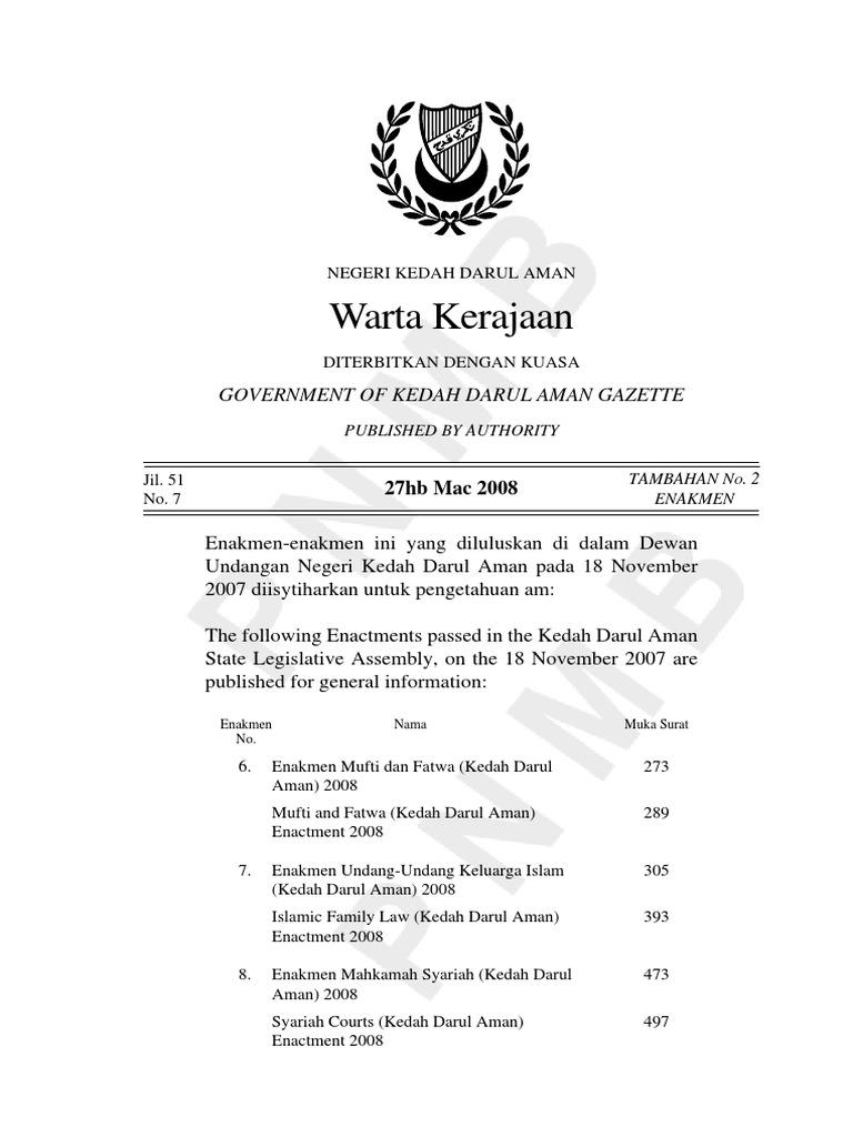Warta Kerajaan Negeri Kedah Jilid 51 No 7 Add 2