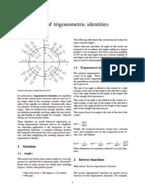 List of trigonometric identities pdf | Trigonometric