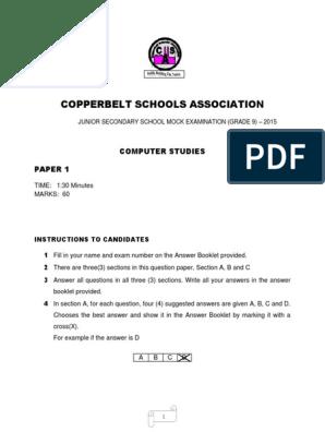 GRADE 9 COMPUTER STUDIES PAPER 1 docx | Disk Storage