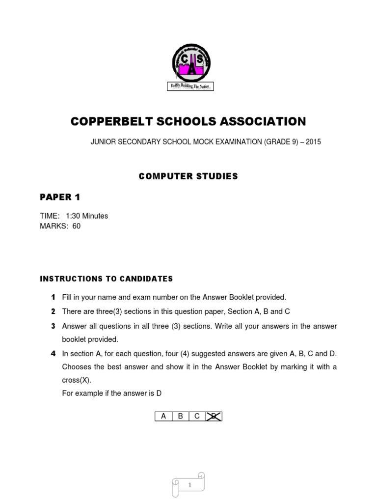GRADE 9 COMPUTER STUDIES PAPER 1 docx | Disk Storage | Computer Data