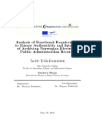 en Analysis of Functional Requirements to Ensure Authenticity and Integrity of Archiving Norwegian Electronic Public Administration Records Asset Dspace 3091 Damessie Tadele Tedla