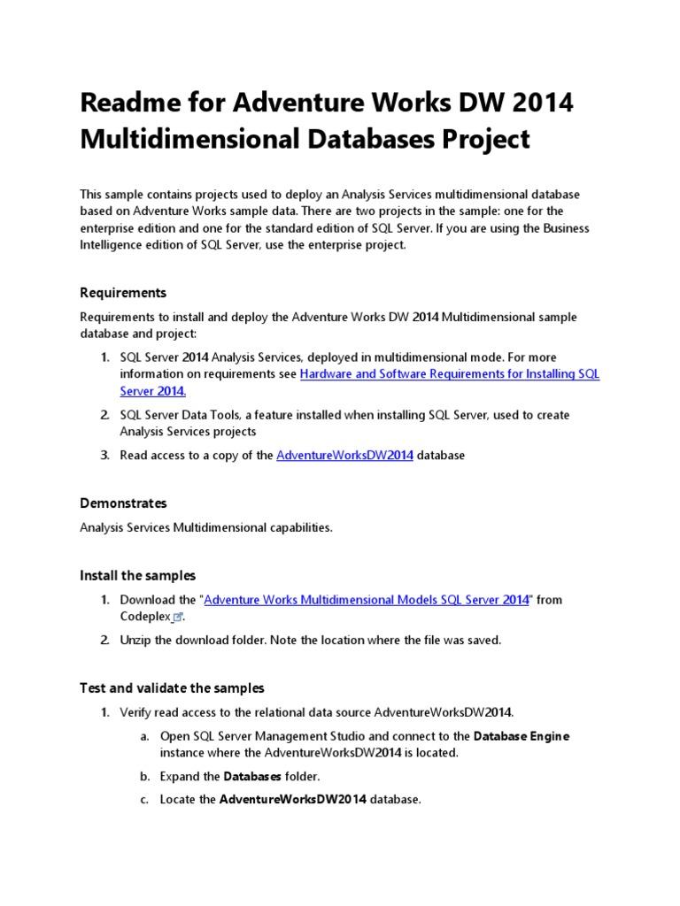 Readme for Adventure Works DW 2014 Multidimensional Databases docx