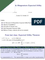 Lecture_12 Von Neumann & Morgenstern Expected Utility