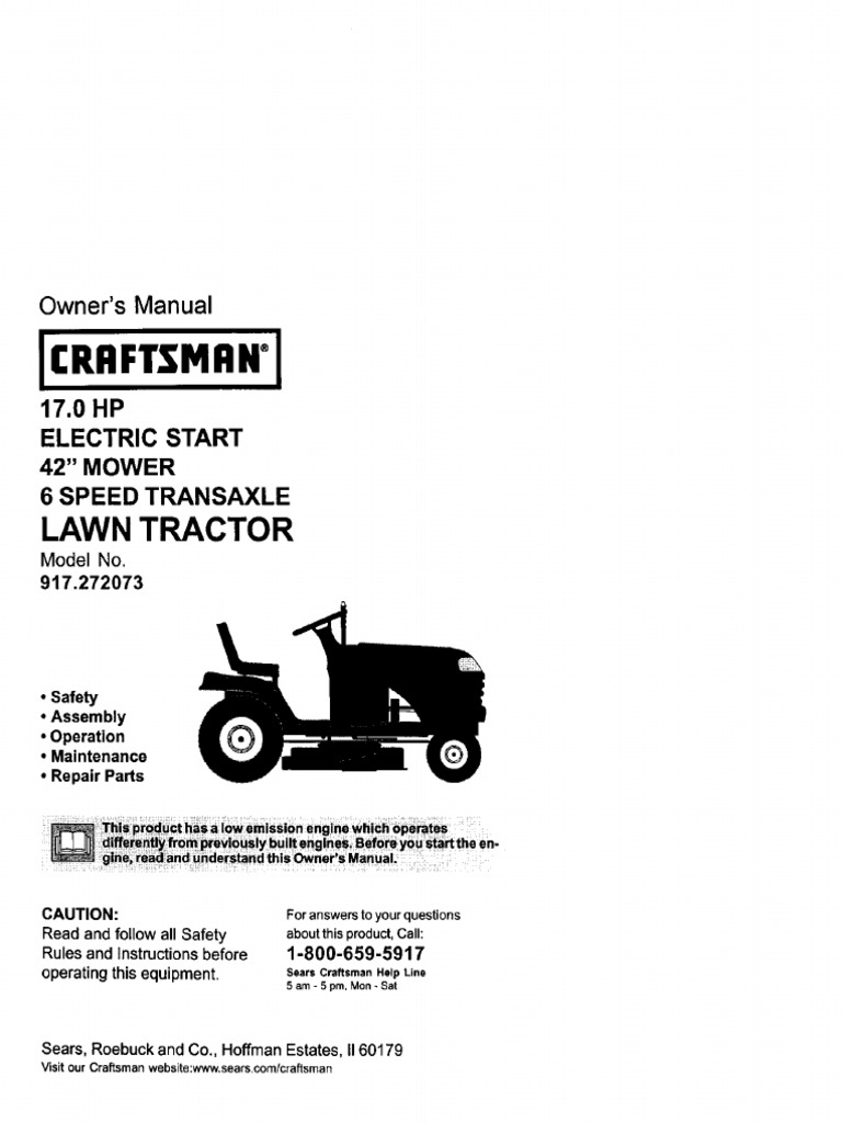 Craftsman Lawn Tractor Model # 917272073 Owner's Manual   Tractor   Clutch