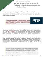 Súmula-TCU Nº 289_ Exigência de Índices Contábeis