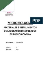 Materiales e Instrumentos Del Laboratorio Empleados en Microbiologia