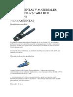 Herramientas y Materiales Que Se Utiliza Para Red Cableada