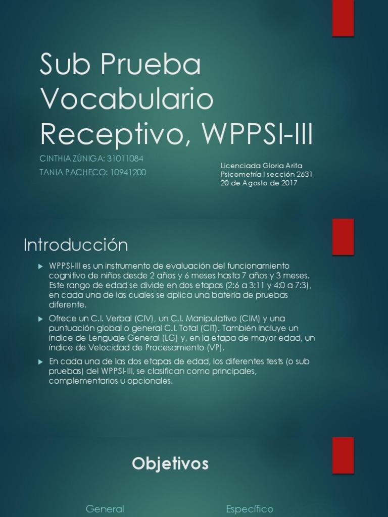 Manual Instrucciones WPPSI III (1) | Cociente de