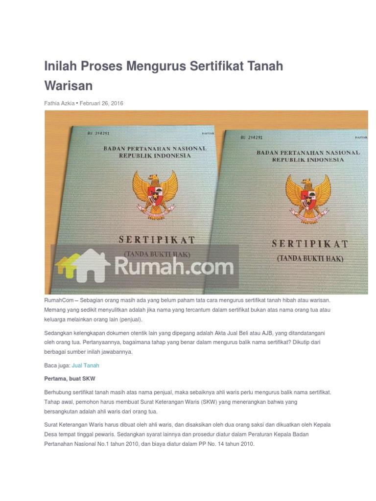 Artikel: Cara Mengurus Balik Nama Sertifikat Rumah Warisan ...