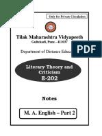 E-202 Literary Theory & Criticism Final