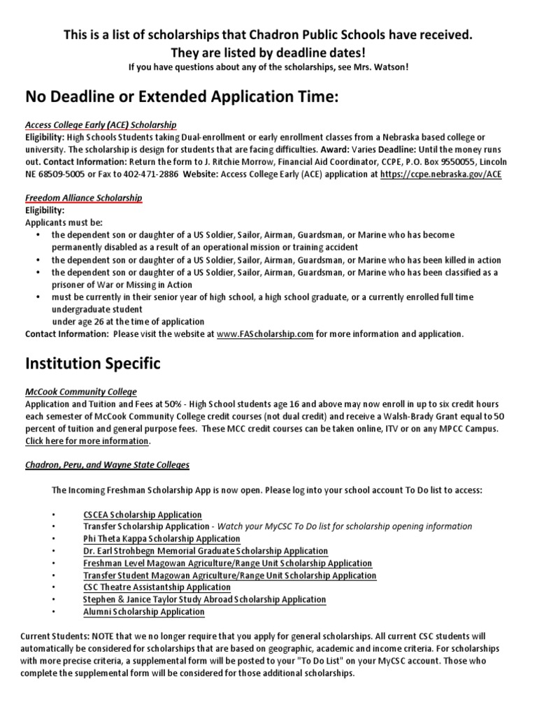 scholarship document for web | Student Financial Aid In The