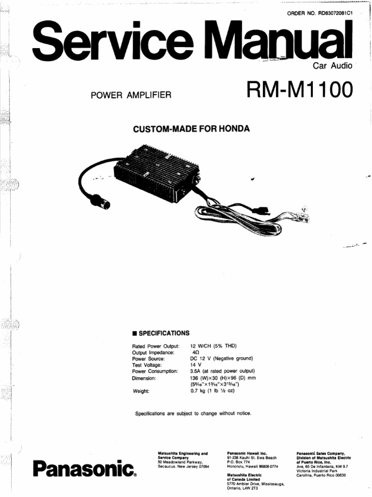 Honda Goldwing Panasonic RM-M1100 Audio Amplifier Service