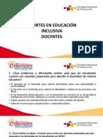 """Recomendaciones en docentes - Taller """"Juntos por una Educación Inclusiva""""."""