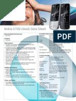 Nokia 6700 Classic Datasheet