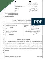 Complaint (6/27/16), Tara Walker Lyons v. Larry Atchison et al, case no. DV 2016-547, Lewis and Clark County, MT