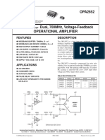 Bb Opa2652 Dual, 700mhz, Voltage-feedback Operational Amplifier