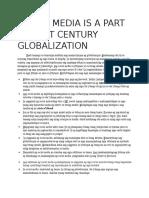 Ang Social Media ay Parte ng ika-21 siglo na Globalisasyon