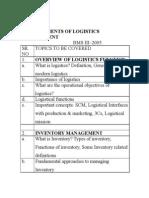 Logistics Topics