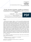 On the Selection of Primary Variables in Numerical Formulation for Modeling Multiphase Flow in Porous Media by YO SHU WU 1999